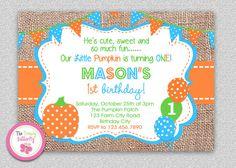 Fall Burlap Pumpkin Birthday Invitation  by TheTrendyButterfly #burlap #pumpkin #polkadot #1stbirthday #first