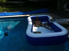 Put a pool in a pool for an awesome outdoor waterbed. This would be fun for overnight. Hey dawg...we heard you like pools...