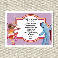 Personalised In The Night Garden Matching Thank You Cards Inc. Envelope