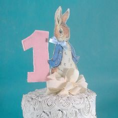 Shabby Chic Peter Rabbit cake topper fabric by Hartranftdesign