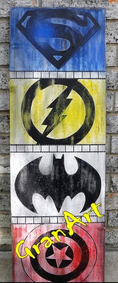 Home Theater Sign, Man Cave Sign, Child's Room Sign, Marvel Sign, Hand Painted Sign by GranArt