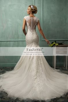 Cheap dress videos, Buy Quality dresses embroidery directly from China dress up party costumes Suppliers:Vestido De Noiva Renda Sereia Alencon Lace Mermaid Sexy Wedding Dress V Neck Cap Sleeve Chapel Train Bridal Gown Custom