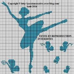 Ballerina x-stitch with butterflies Easy Cross Stitch Patterns, Simple Cross Stitch, Loom Patterns, Cross Stitch Charts, Cross Stitch Designs, Cross Stitching, Cross Stitch Embroidery, Embroidery Patterns, Crochet Chart