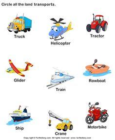 Preschool Vocabulary Worksheet: Identify land transports. #LanguageArts #Education #Teaching