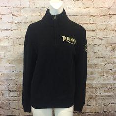 Lucky Brand Mens Medium Sweater Triumph MOTORCYCLE Half Zip Wool Black  | eBay