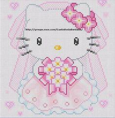 Kawaii Cross Stitch, Cross Stitch For Kids, Cross Stitch Baby, Cross Stitch Charts, Cross Stitch Patterns, Wedding Cross Stitch, Beaded Cross Stitch, Hello Kitty Crochet, Stitch Character