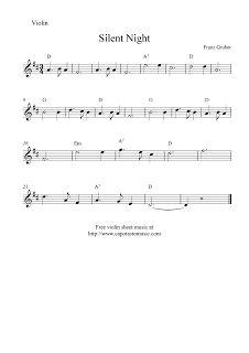 Free Sheet Music Scores: Silent Night, free Christmas violin sheet music notes