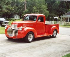 1946 Chevy Pick up  We used it to get from the church to the reception except it was cream colored. :)