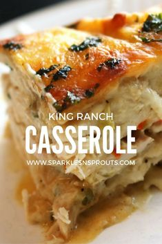 King Ranch Casserole is loaded with tons of flavor and a must make...the leftovers are EVEN BETTER!! #casserole #kingranch #recipe #sparklesnsprouts