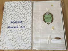 Superior Damask WhiteTablecloth 50x50 + 4 Napkins Set Kureha Japan NIB NEW