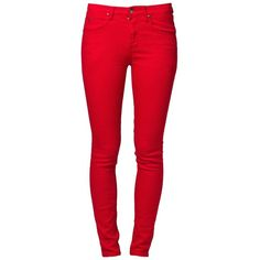 People's Market COBAIN Slim fit jeans ($36) ❤ liked on Polyvore featuring jeans, pants, bottoms, calças, pantalones, red, women's trousers, slim jeans, slim leg jeans and red skinny jeans