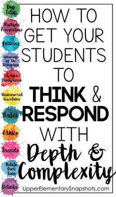 Getting your students to think and respond with depth and complexity. Critical thinking at it's best! Free critical thinking book marks included!!!