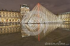Louvre museum. Night view. The famous glass pyramide