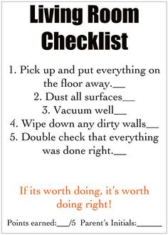 Cleaning Checklists...for the kids