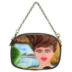 """All appleartcom's products are from the original paintings of the artist/designer Jocelyn Apple. Kindly see: (www.facebook.com/appleartcom)    (www.cowcow.com/appleartcom). The girl with a wooden Hair Chain Purse (Two Sided)  by Jocelyn Apple Chain Purse (Two Sides). The evening purse illustrates elegance in a small package. This party accessory features a 16"""" vintage brass-colored chain, giving it a unique feel that is unrivaled. Design images are heat transferred using a heat dye…"""