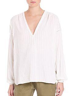 SET Tonal Striped Blouse - Ivory