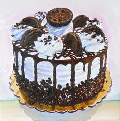 """""""Cake Boss Oreo Cookie Painting"""" by Beverly Shipko, Oil on cradled panel, 6 x 6 inches"""