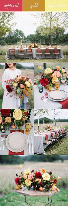 red gold yellow fall wedding color palette