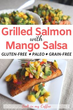 This flavor-packed grilled salmon with mango lime salsa is the kind of meal you remember for days. Decadent and slightly exotic its actually SO easy you can whip it up in no time! Fish Recipes, Lunch Recipes, Easy Dinner Recipes, Xmas Recipes, Paleo Dinner, Grilling Recipes, Chicken Recipes, Easy Healthy Recipes, Gluten Free Recipes