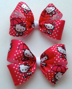 Red Hello Kitty Chunky Pig Tail Bows, Piggy Tail clips!