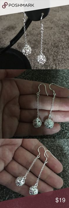 925 Silver Earrings. Beautiful silver ball earrings with heart. Jewelry Earrings