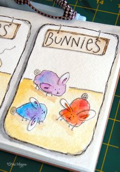 BUNNIES!  How to draw cute little critters (piggies, birds, mice ...) from a blob of watercolor, outlined then 'accessorized.'