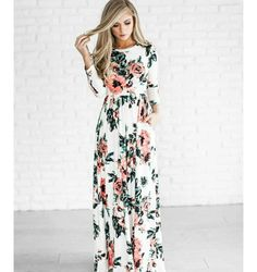"use code ""mackens5"" to receive $5 off this #maxidress when you visit shopjessakae.com #spring #florals maxi dress style fashion ootd hair blonde"