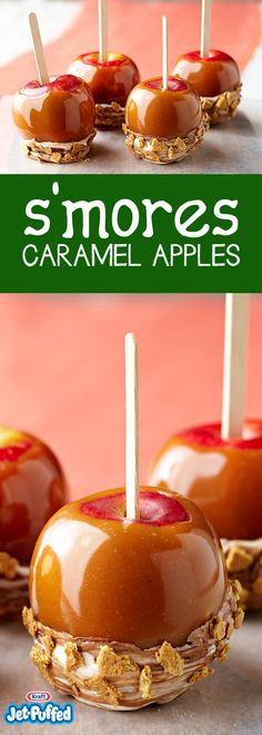 Two family faves collide on a stick: caramel apples and s'mores. The ooey-gooey chocolate-marshmallow topping holds the chopped graham crackers on tight. Apple Desserts, Köstliche Desserts, Apple Recipes, Fall Recipes, Holiday Recipes, Delicious Desserts, Dessert Recipes, Yummy Food, Halloween Desserts
