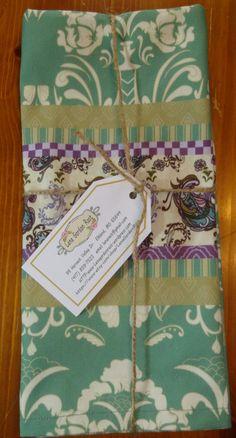 Tea Towels fine linens set of 2 coordinating by LanaGordonRast