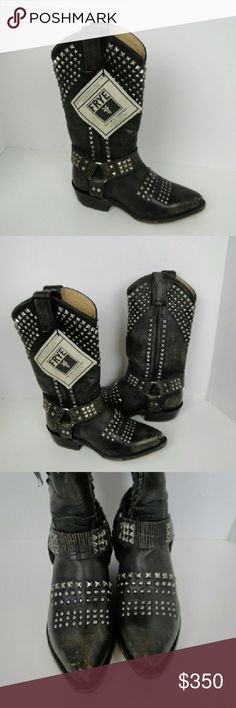 "FRYE BILLY BIKER HARNESS STUDDED BOOTS SZ 6 NEW FRYE BILLY BIKER HARNESS BLACK LEATHER  STUDDED BOOTS SZ 6 NEW w/tag no box $448  Western boot given an edge with biker pyramid studs and harness strap. Made with washed leather for an antiqued look.  Antique soft vintage leather upper.  Leather lined.  Leather outsole.  Goodyear welt construction  Size and Fit  11 1/2"" shaft height 13 1/2"" shaft circumference 1 1/2"" heel Frye Shoes"