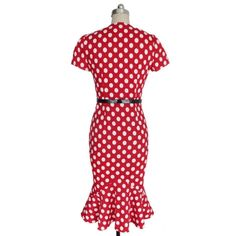 V Femage Puantiyeli Kırmızı Kalem Elbise
