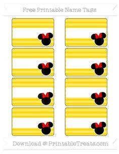 Free Gold Horizontal Striped  Minnie Mouse Name Tags