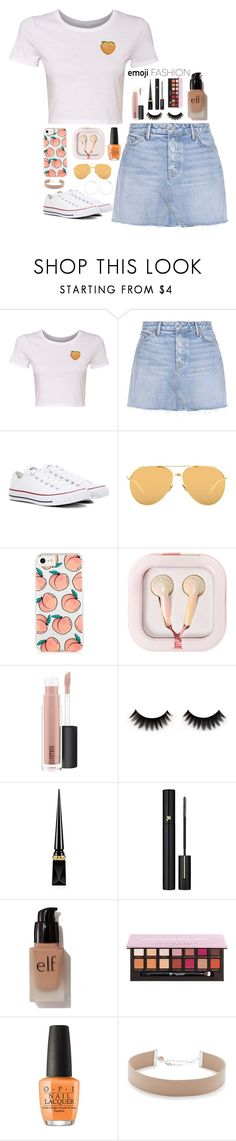 """Just Peachy"" by mynameisclairelem ❤ liked on Polyvore featuring GRLFRND, Converse, Linda Farrow, claire's, MAC Cosmetics, Christian Louboutin, Lancôme, e.l.f., OPI and Jennifer Zeuner"