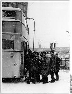Berlin DDR 1965 Omnibushaltestelle im Winter Berlin Photos, S Bahn, Double Decker Bus, Eastern Europe, Winter, Snow, Buses, Pictures, Outdoor