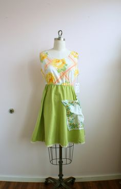 Yellow green and coral vintage inspired by loveletterclothing Floral Bridesmaid Dresses, Casual Summer Dresses, Fashion Sewing, Vintage Inspired, Coral, Trending Outfits, Yellow, Unique Jewelry, Handmade Gifts