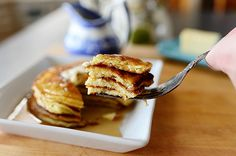 "Edna Mae's Sour Cream Pancakes -  Switch out flour for THM:  if you use oat fiber or oat flour, nonfat plain greek yogurt & egg whites, these would be an ""E"" If you use almond flour or flax meal, and the rest of the recipe stays the same, these would be an ""S"" Use sugar-free syrup either way."