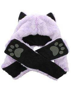 Faux Fur Animal Hat With Paws - Lilac Wolf