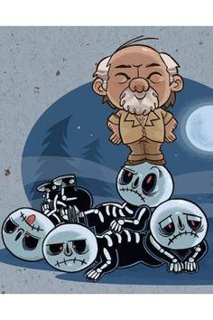 Amazing little cartoon of miyagi and the kobra Kai boys