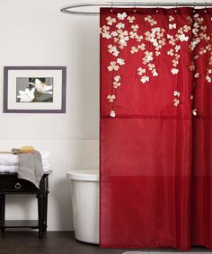 Lush Decor sells a variety of lovely shower curtains, such as the flower drops shower curtain. For more information & to peruse our shower curtains, visit our website today! Red Shower Curtains, Flower Shower Curtain, Shower Curtain Hooks, Sheer Curtains, Red Bathroom Accessories, Red Accessories, Baños Shabby Chic, Bathroom Red, Bathroom Ideas