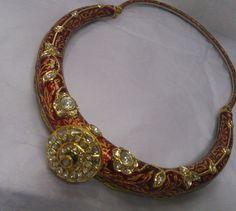 20 K solid gold Polki diamond set choker necklace by TRIBALEXPORT, $13500.00