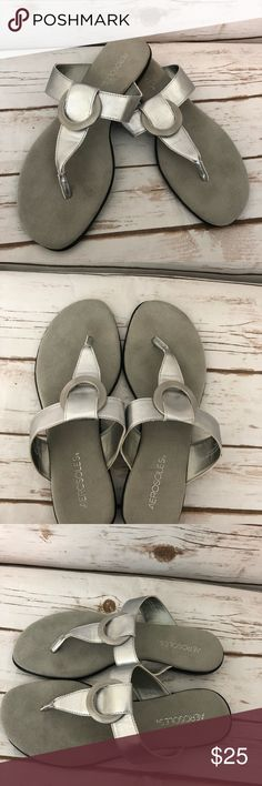 AEROSOLES Silver Comfort Thong Sandals 💖PLEASE READ MY CLOSET RULES, IT'S GREATLY APPRECIATED!  Size 8.5 Great, gently used condition Color: Silver Made of all manmade materials  Does not come me with original box   Three cheers for sandal season. Shout out to the world just how cute and comfy you'll be in the trendsetting Supper Chlub slide sandal that wears with everything.   True to Size Memory Foam   The pictures shown and description given are of the exact item you will receive…