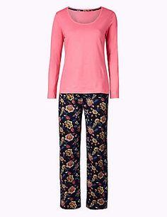 Schlafanzugset aus reiner Baumwolle mit Blumenmotiv