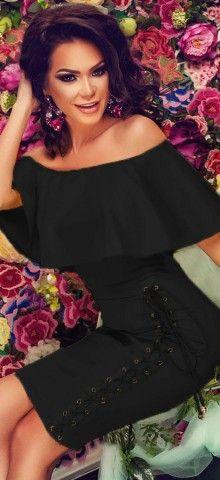 Off Shoulder Black Knee Length Bodycon Dress