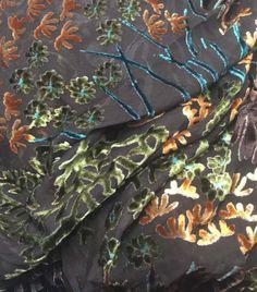 "Burnout Silk VELVET Fabric UNDERWATER CORAL REEF 9""X22"""