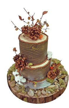 Grooms Cakes | Wooded Themed Groom's Cake – Ganache – The bakery artists at ...