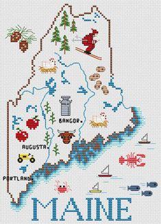 Maine Map: A Cross Stitch Chart by Sue Hillis Designs Cross Stitch Quotes, Cross Stitch Pictures, Cross Stitch Kits, Counted Cross Stitch Patterns, Cross Stitch Designs, Cross Stitch Embroidery, Cross Stitching, Needlework, Crafts