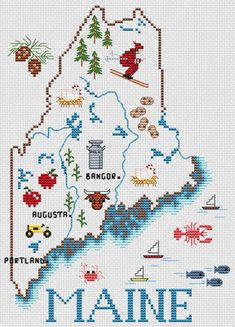 Sue Hillis Maine Map - Cross Stitch Pattern. Model to be stitched on your choice of fabric using DMC floss. Stitch count 88 x 124.