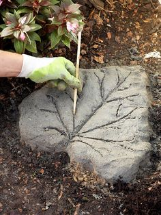 DIY Garden decoration ideas - stone path from ornate stepping stones Concrete Leaves, Stone, Diy Garden, Garden, Garden Paths, Garden Decor, Leaf Stepping Stones, Garden Edging, Landscape