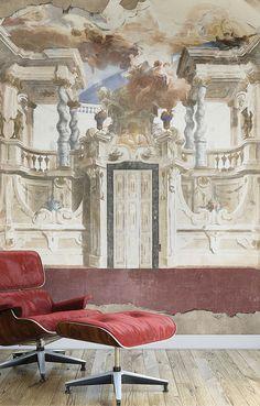 Efekt antycznej willi - WallPepper, kolekcja Classic. #tapety #dekoracje #ściana #kolory #akwarele #salon #tapeta #ściany #wystrój #design #dom #mieszkanie #styl #weranda #kwiaty #2017