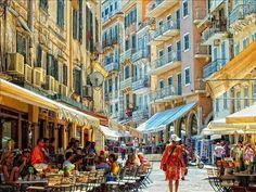 Kerkyra (Corfu) The Old Town of Kerkyra, Corfu island, Ionian Sea, Greece Beautiful Places To Visit, Beautiful World, Places To See, Greece Art, Corfu Greece, Albania, Mykonos, Travel Around The World, Around The Worlds